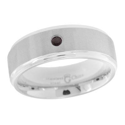Zales Mens 8.0mm Enhanced Black Diamond Wedding Band in Stainless Steel yDFBjUsggI