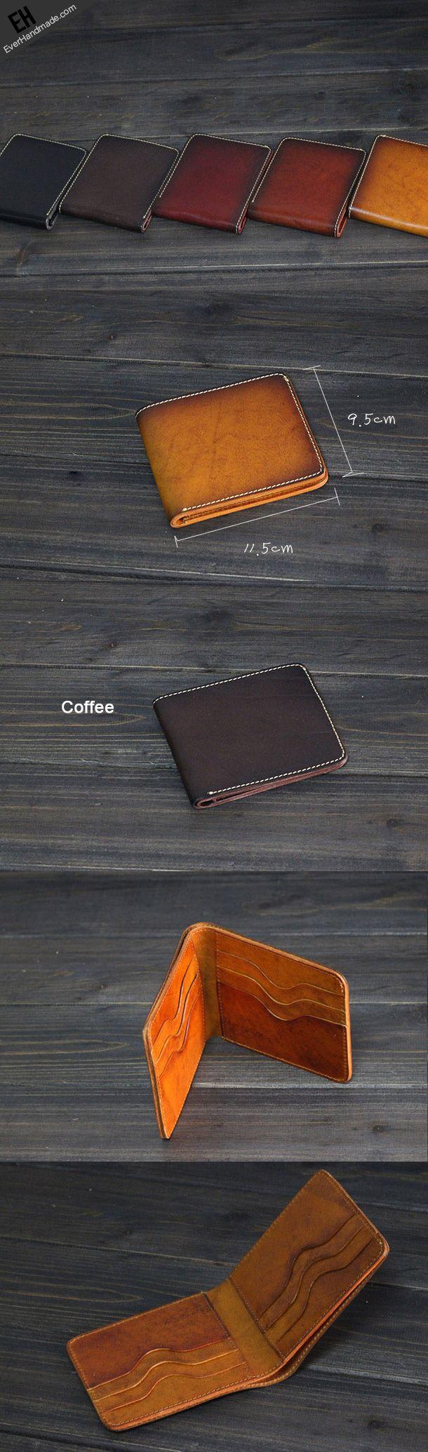 Handmade Men short leather wallet men vintage brown coffee wine wallet for him