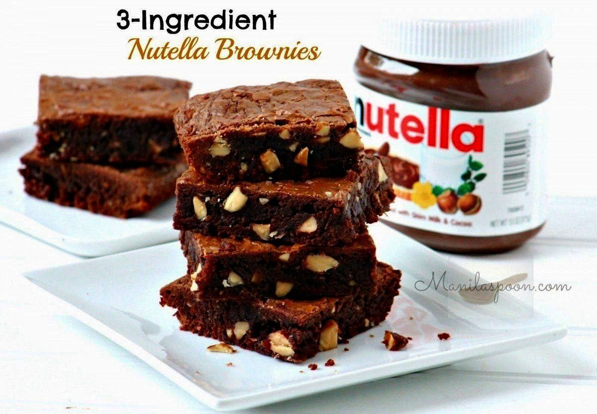Chewy 3 Ingredient Nutella BrowniesSoft and Chewy 3 Ingredient Nutella Brownies  Best ever light an