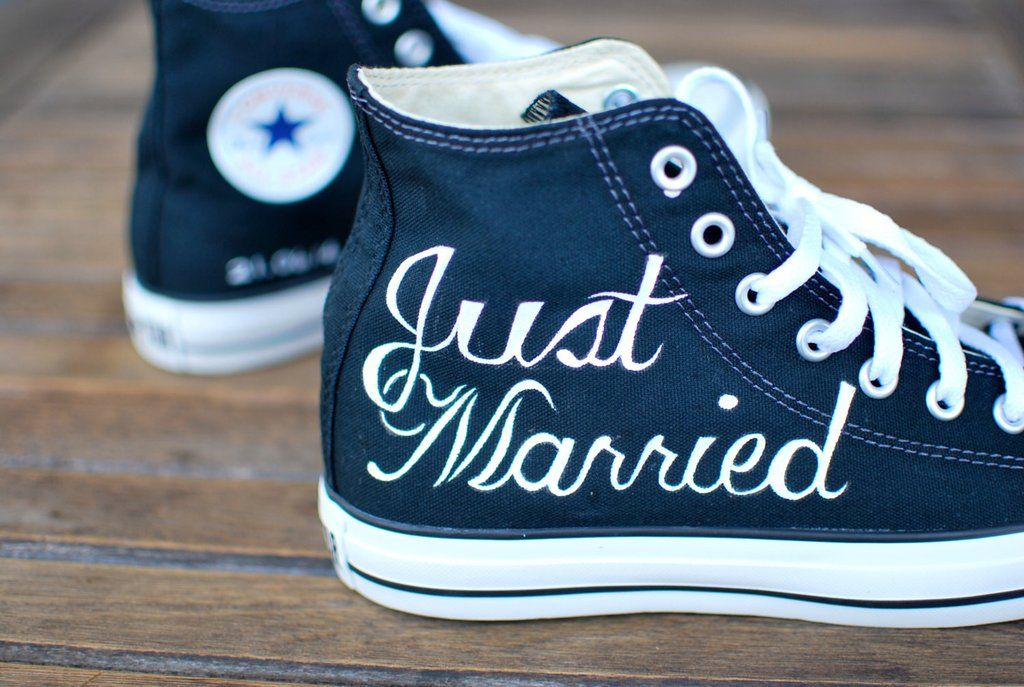1aae2be72dea Hand Painted Just Married Converse - Black Canvas Chucks