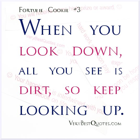 When you look down, all you see is dirt, so keep looking up ...