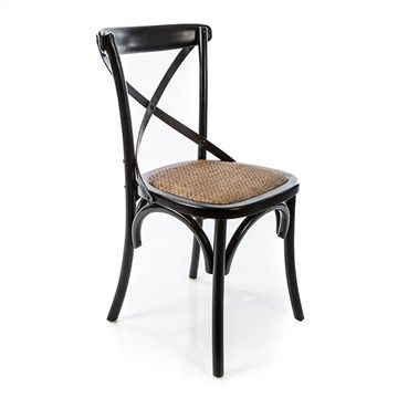 black cross back dining chairs brown outdoor chair cushions ardres solid timber commercial gade with rattan seat distressed