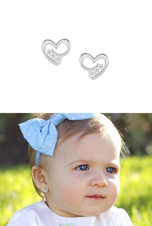 14k White Gold Baby Earrings In Heart Silhouette Shape