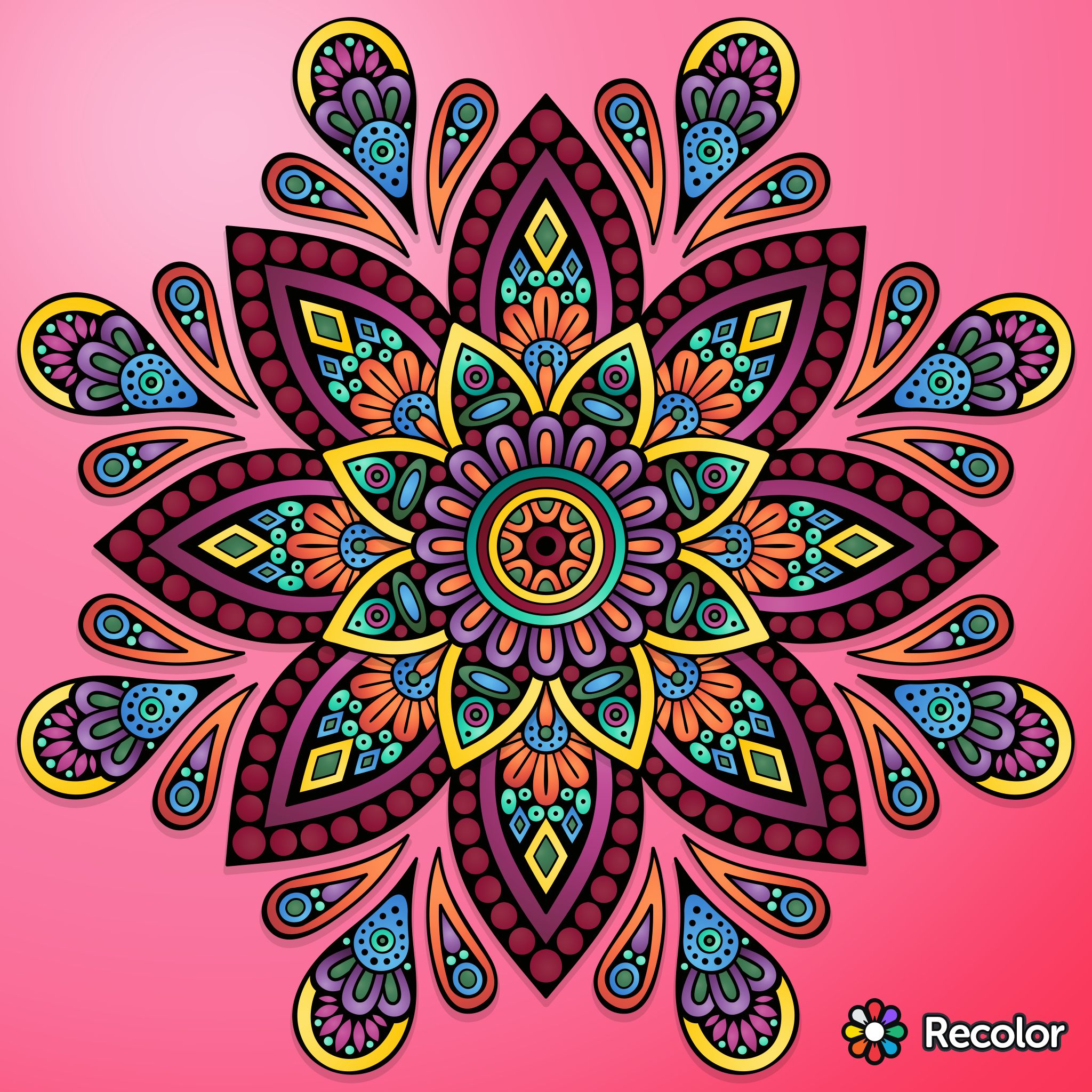 Brightly Colored Mandala On Pink Field Gradient Colors With No Added Effect Mandala Coloring Mandala Painting Mandala