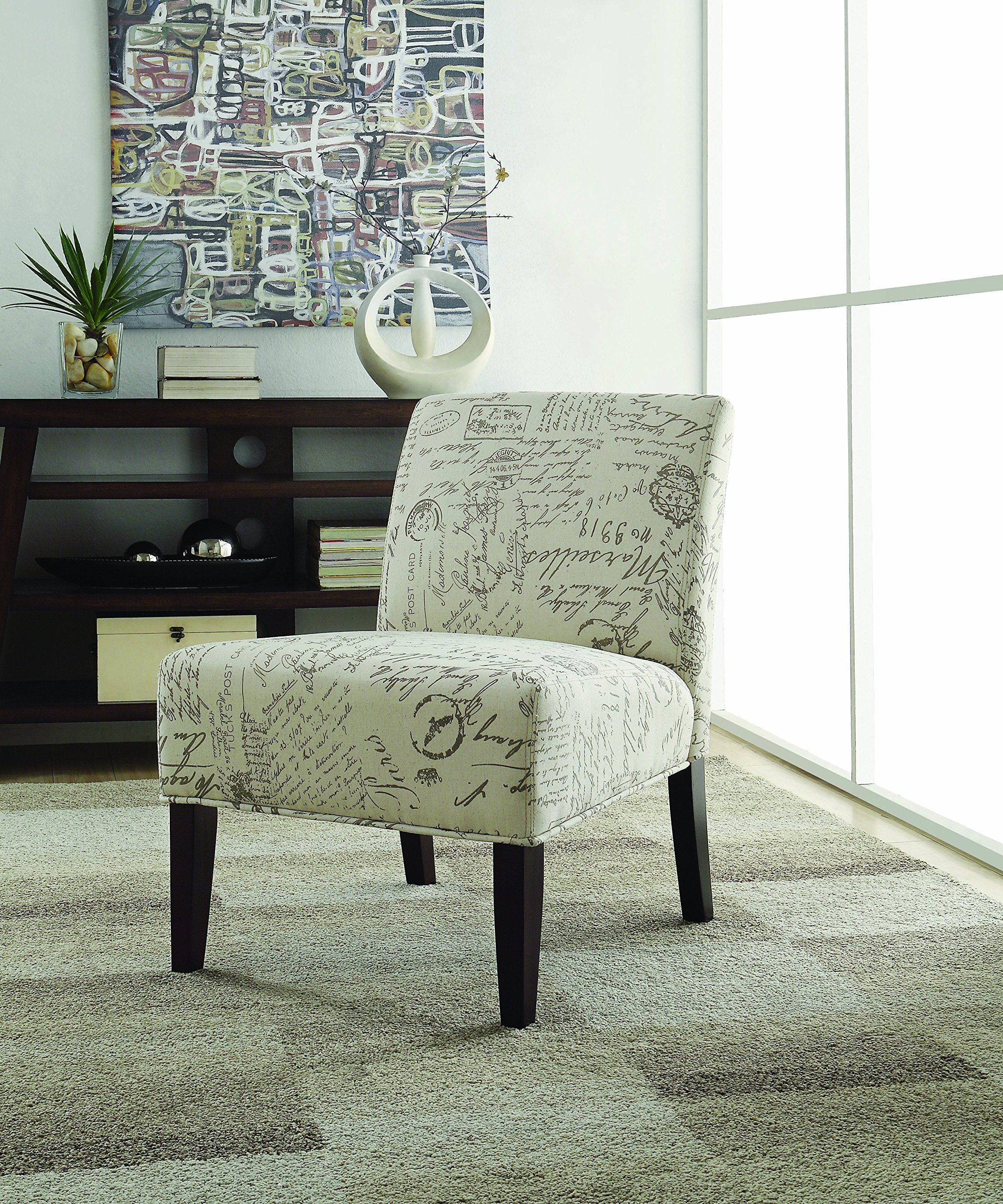 Coaster home furnishings 902055 vintage french script contemporary armless accent chair beige
