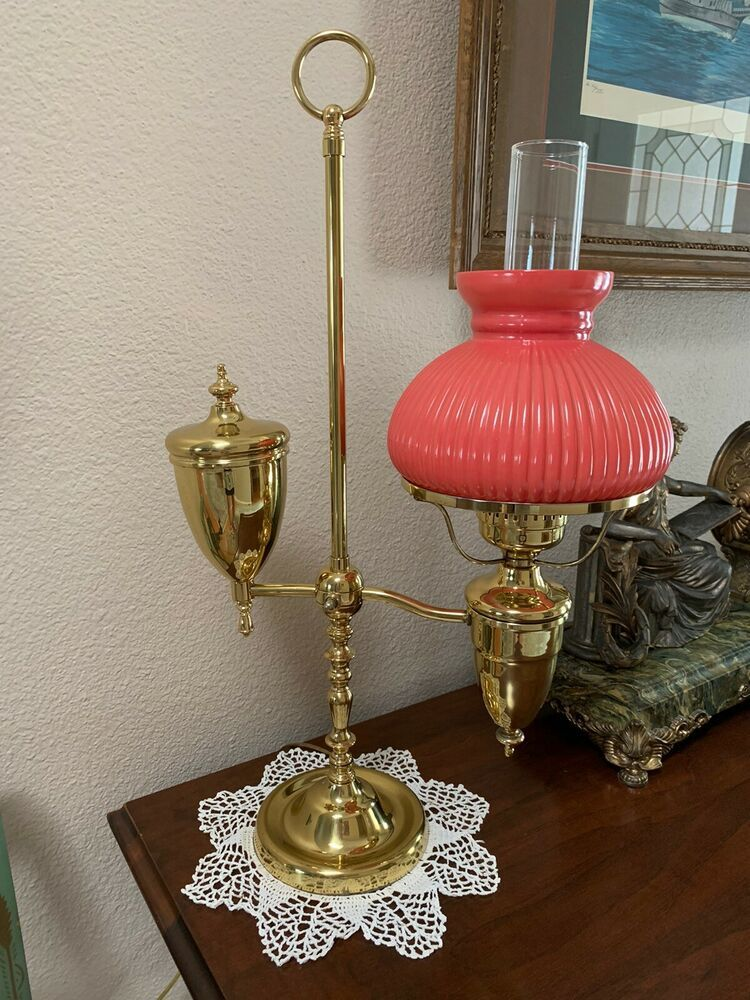 Vintage Salmon Shade 7 Peach Ribbed Student Oil Electric Lamp Shade Ebay In 2020 Electric Lamp Lamp Antique Lamps