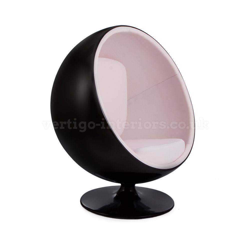 Outstanding 749 99 Black Shell White Fabric Ball Globe Chair Inzonedesignstudio Interior Chair Design Inzonedesignstudiocom