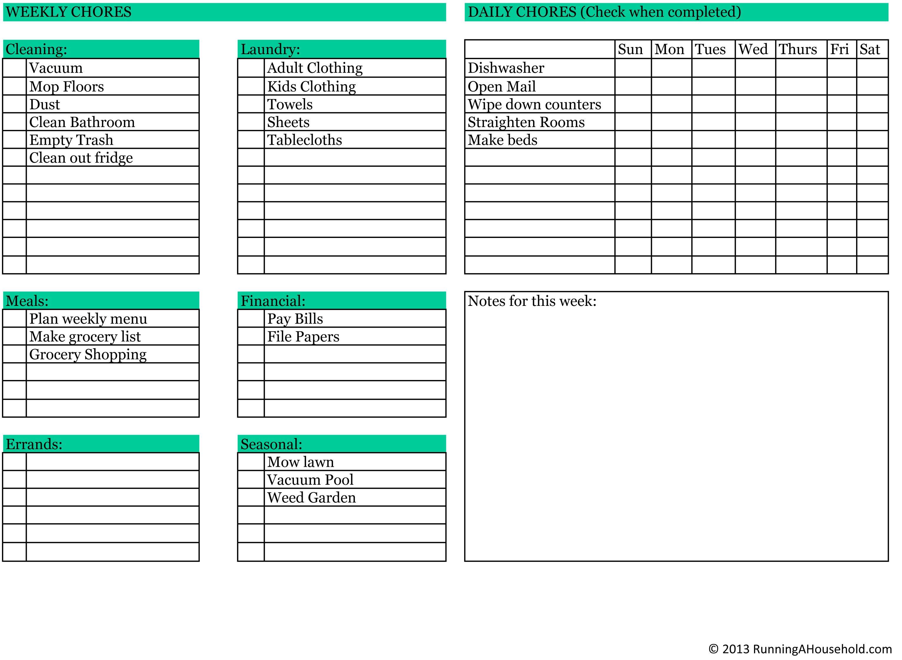 Household chores printable weekly checklist running a for House chores checklist template
