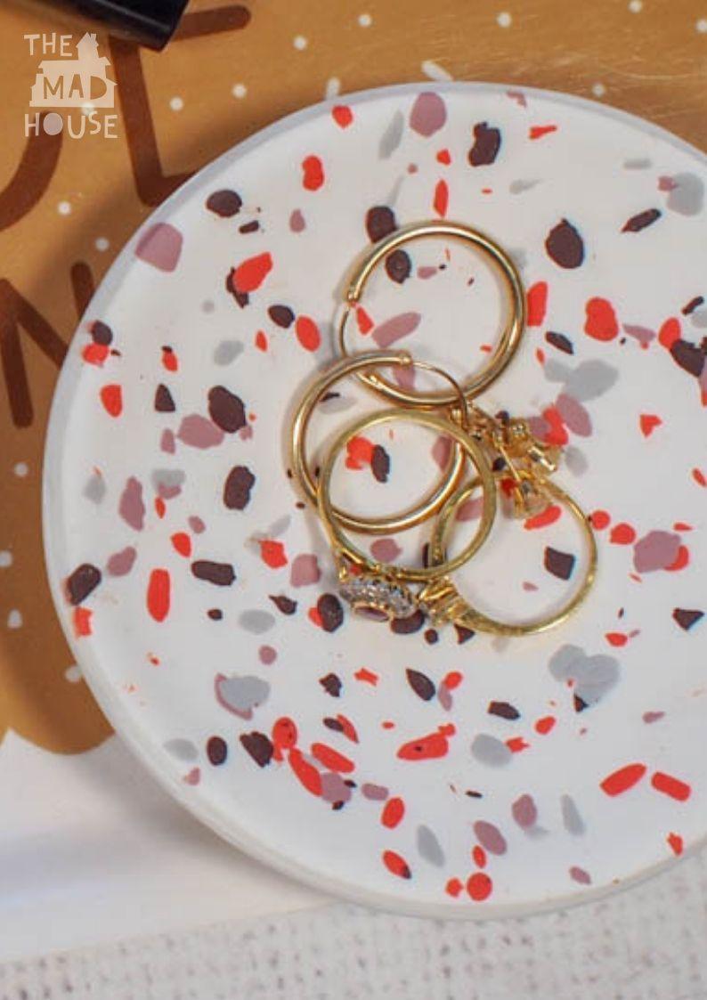 DIY Terrazzo Polymer Clay Ring Dish in 2020 Polymer clay