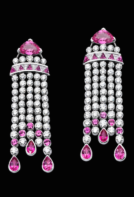 Diamond, Pink sapphire, White gold--Piaget These earrings in white gold pay homage to the legendary Chrysler Building with its Art Deco architectural style.
