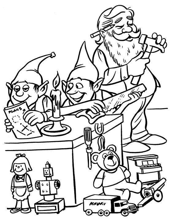 Printable Christmas Coloring Page Elves In Workshop With Images