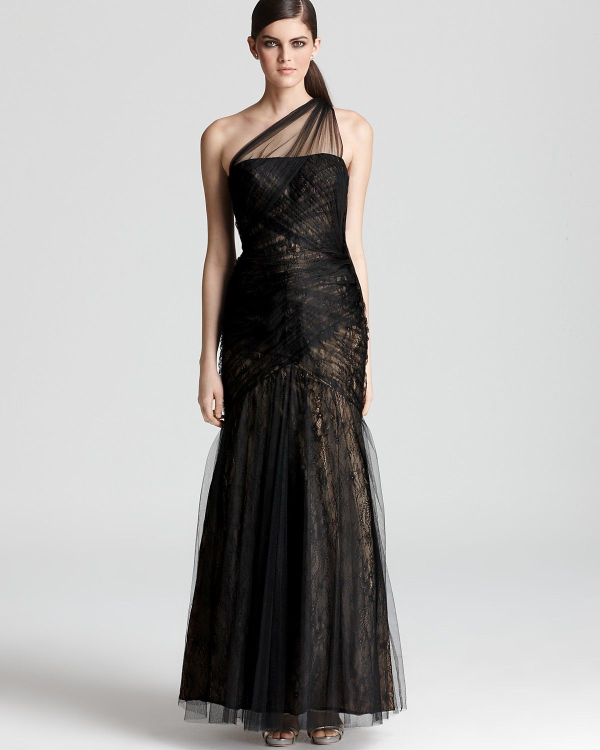 ML Monique Lhuillier One Shoulder Gown - Tulle Overlay