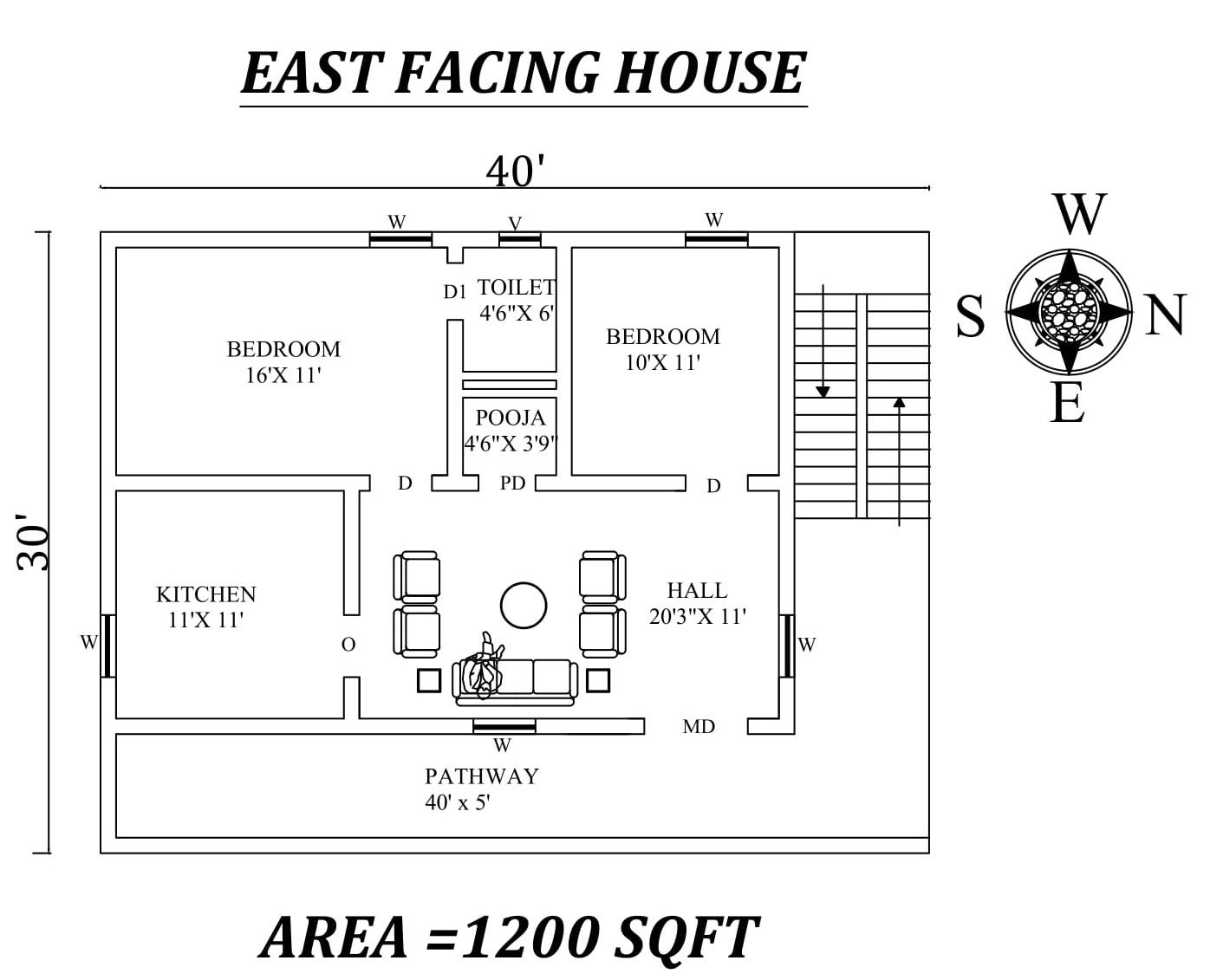 40 x30 The Perfect 2bhk East facing House Plan As Per Vastu Shastra Autocad dwg file details