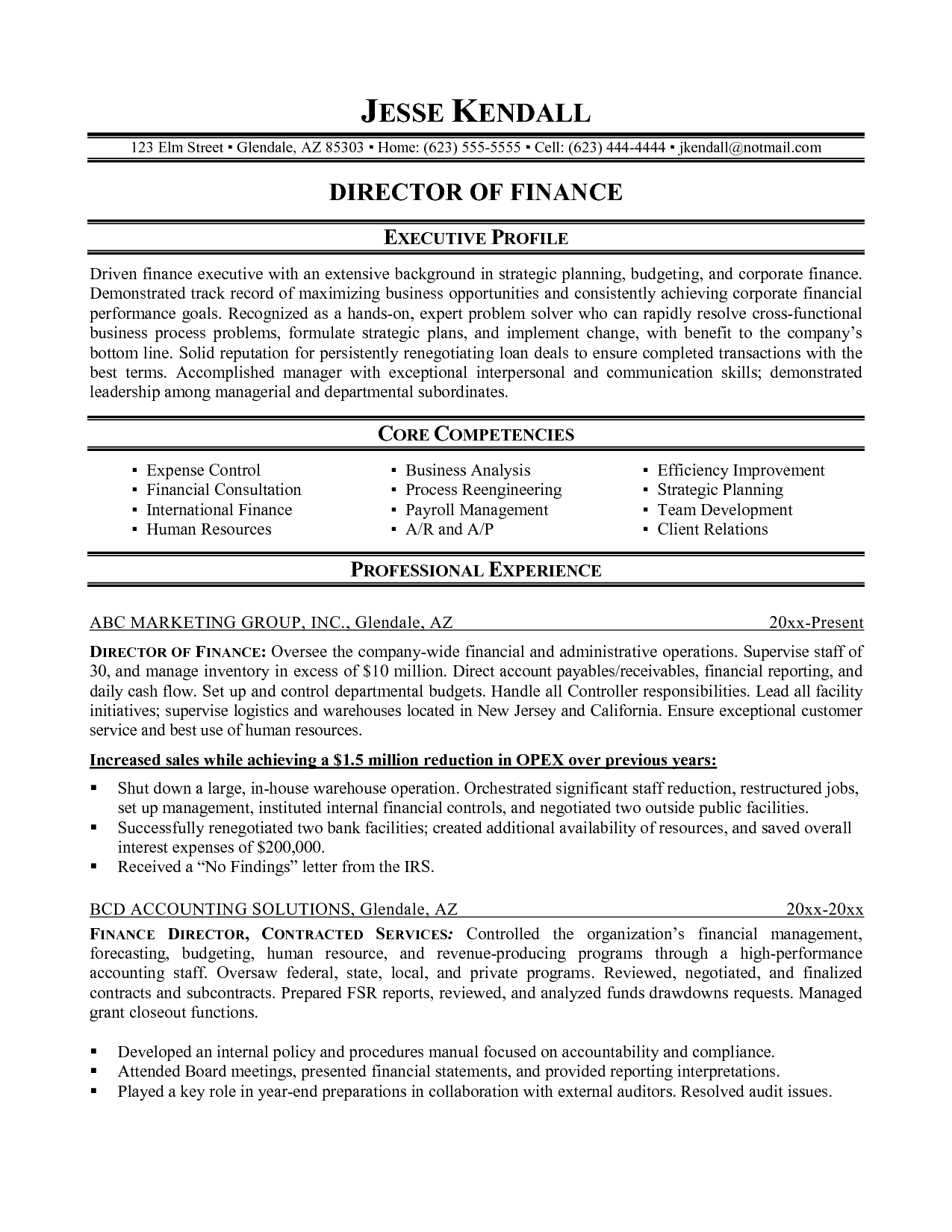 Finance Resume Examples Example Jesse Kendallg Financial Analyst