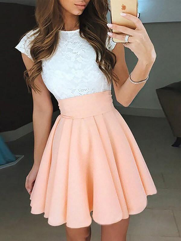 c7a22a59435 Chicloth A-Line Chiffon Jewel Sleeveless Short/Mini With Lace Prom Dresses
