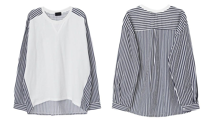 Jolly Club Long-Sleeve Stripe-Panel Top   YESSTYLE