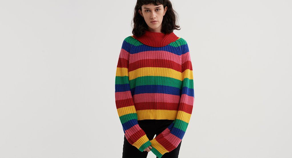 Lazy Oaf Rainbow Roll Neck Sweater Oversized Jumper Cropped