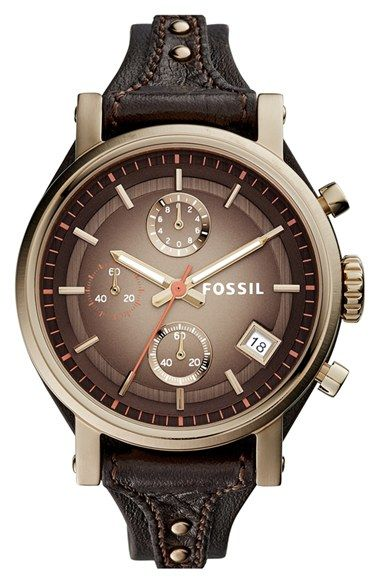 553c7e438b1 Fossil  Original Boyfriend  Chronograph Leather Strap Watch
