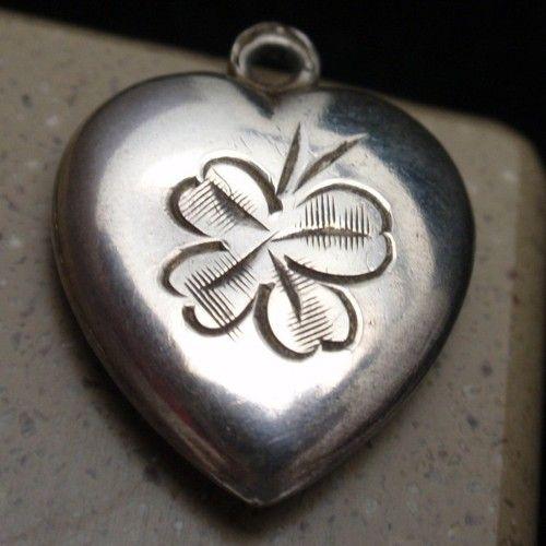 Puffy Heart Charm Vintage Sterling Silver Etched 4 Leaf Clover Engraved Erh | eBay
