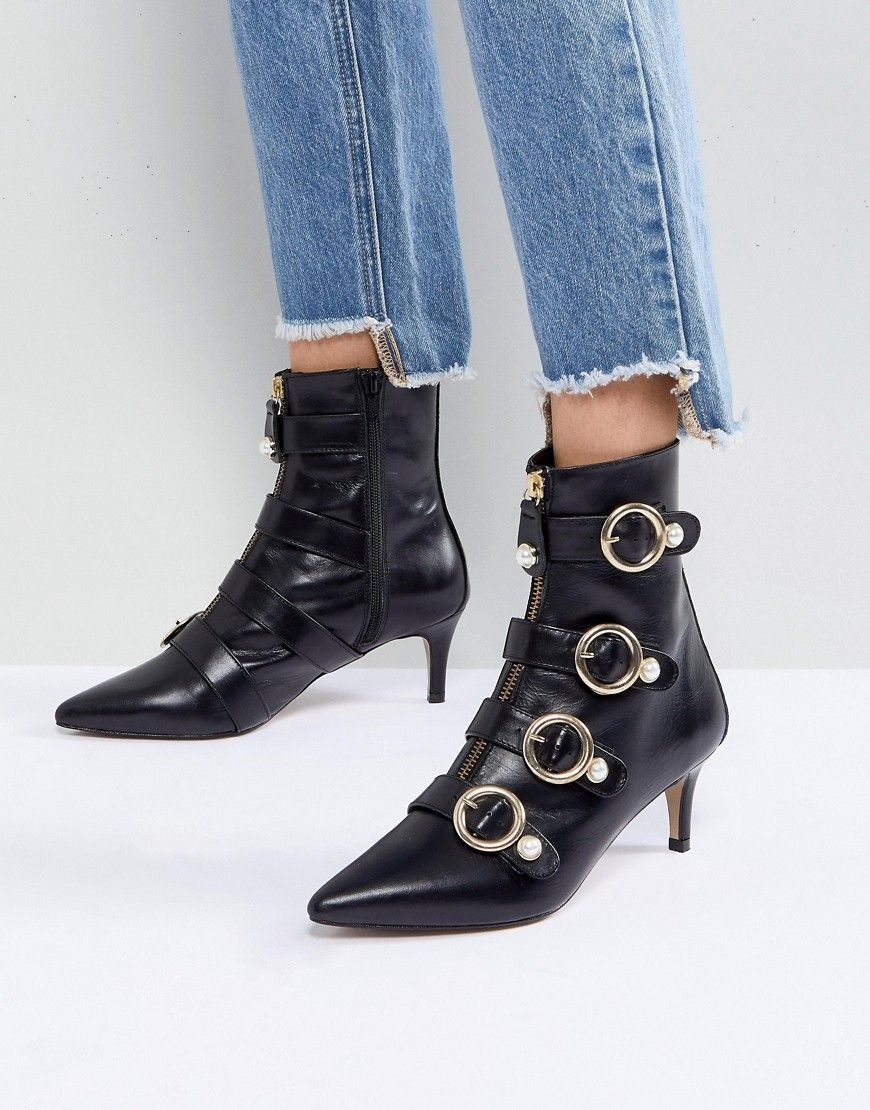 c8413b3a10db Carvela Sparky Pearl Detail Leather Kitten Heel Ankle Boots - Black