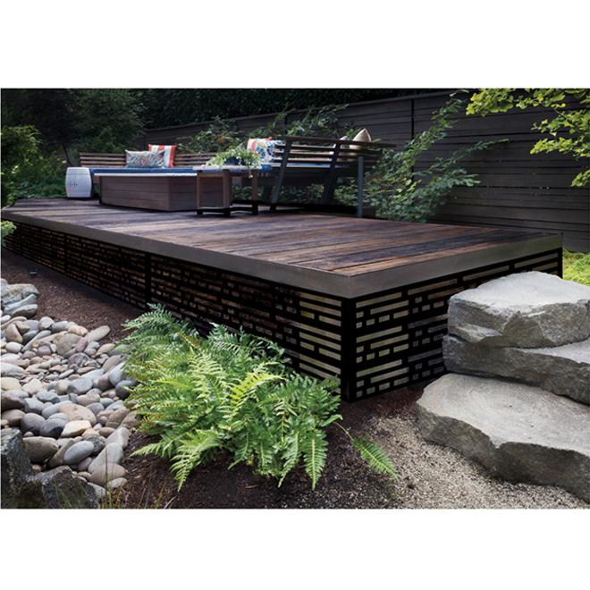 Designer Sheeting Panneau Decoratif Morse Interieur Exterieur 2 X 4 Noir 73004796 Reno Depot In 2020 Deck Skirting Deck Garden Outdoor Deck Furniture