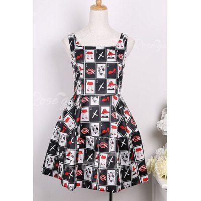 Vintage Square Neck Sleeveless Printed Dress For Women