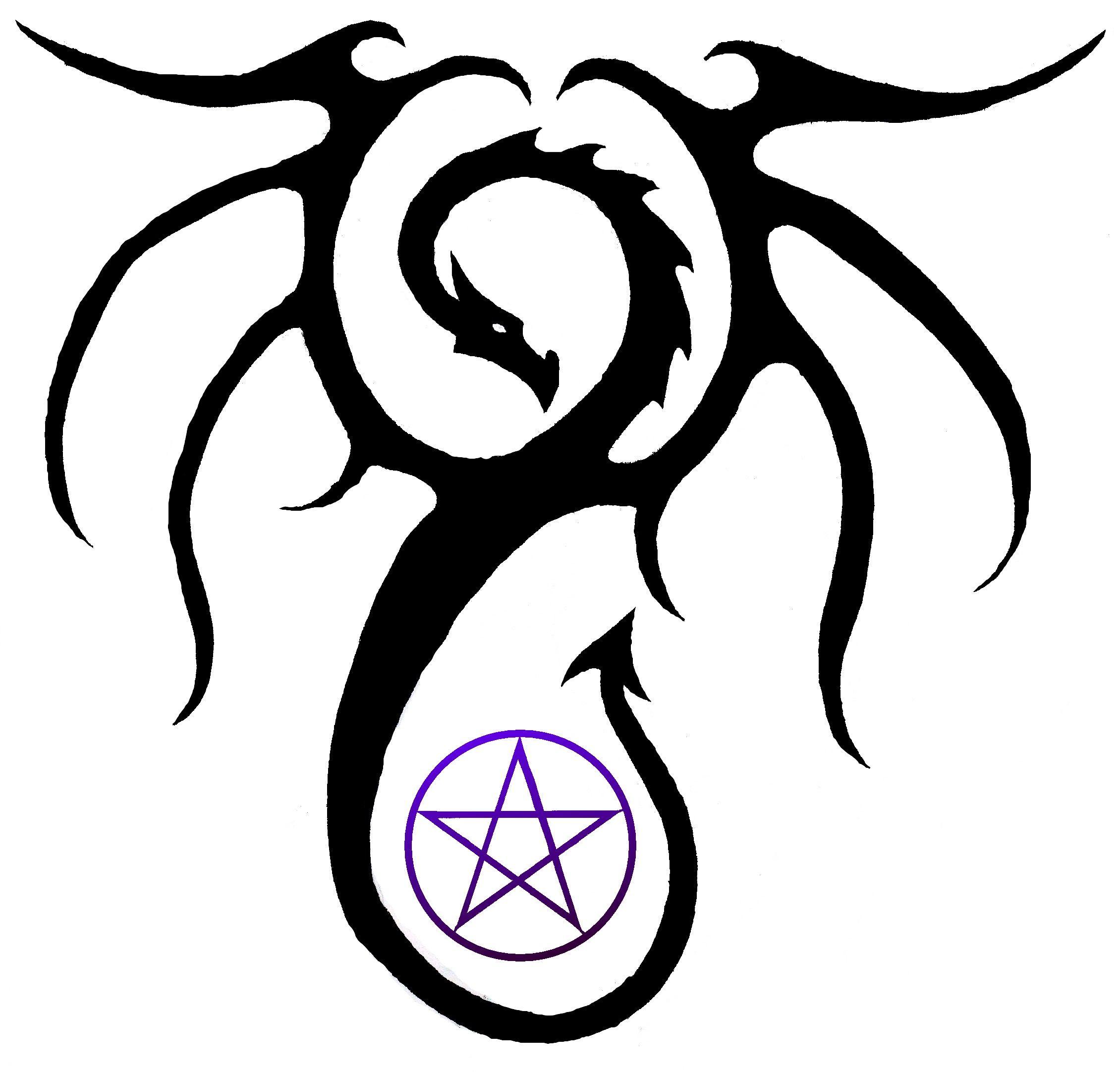 Dragon Tattoo W Pentagram Tattoos Pinterest Tattoos Pentagram
