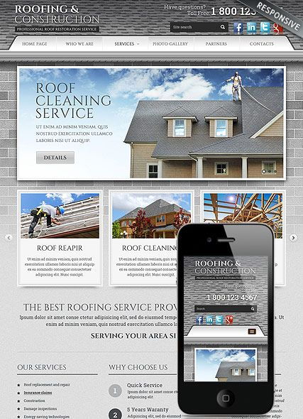 Mobile Website Templates Roofing And Construction Website Template Bootstrap Responsive