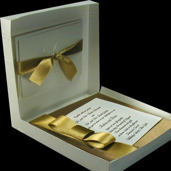 Boxed Couture Wedding Invitations Gold And Ivory Chic Vintage Glam Invitation Antique Invite