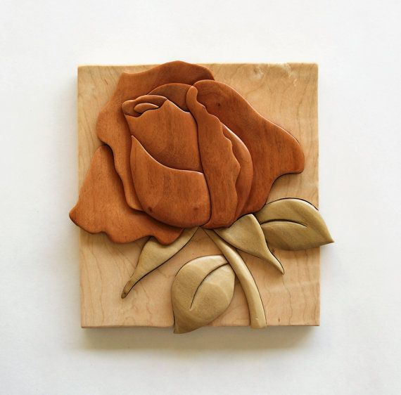 Rose intarsia wall hanging wood flower carving floral