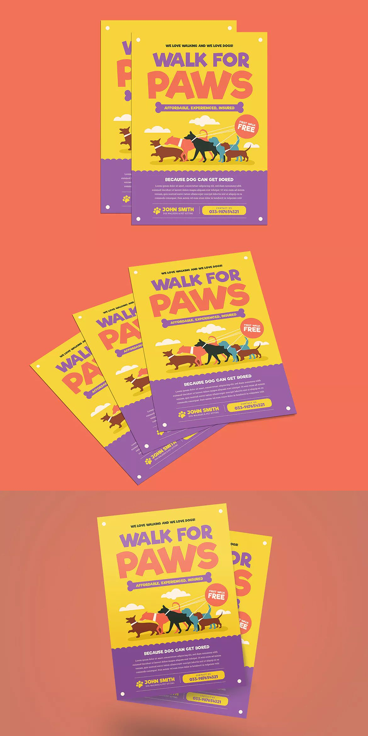 Dog Walkers Flyer Template AI, PSD | Flyer Templates | Pinterest