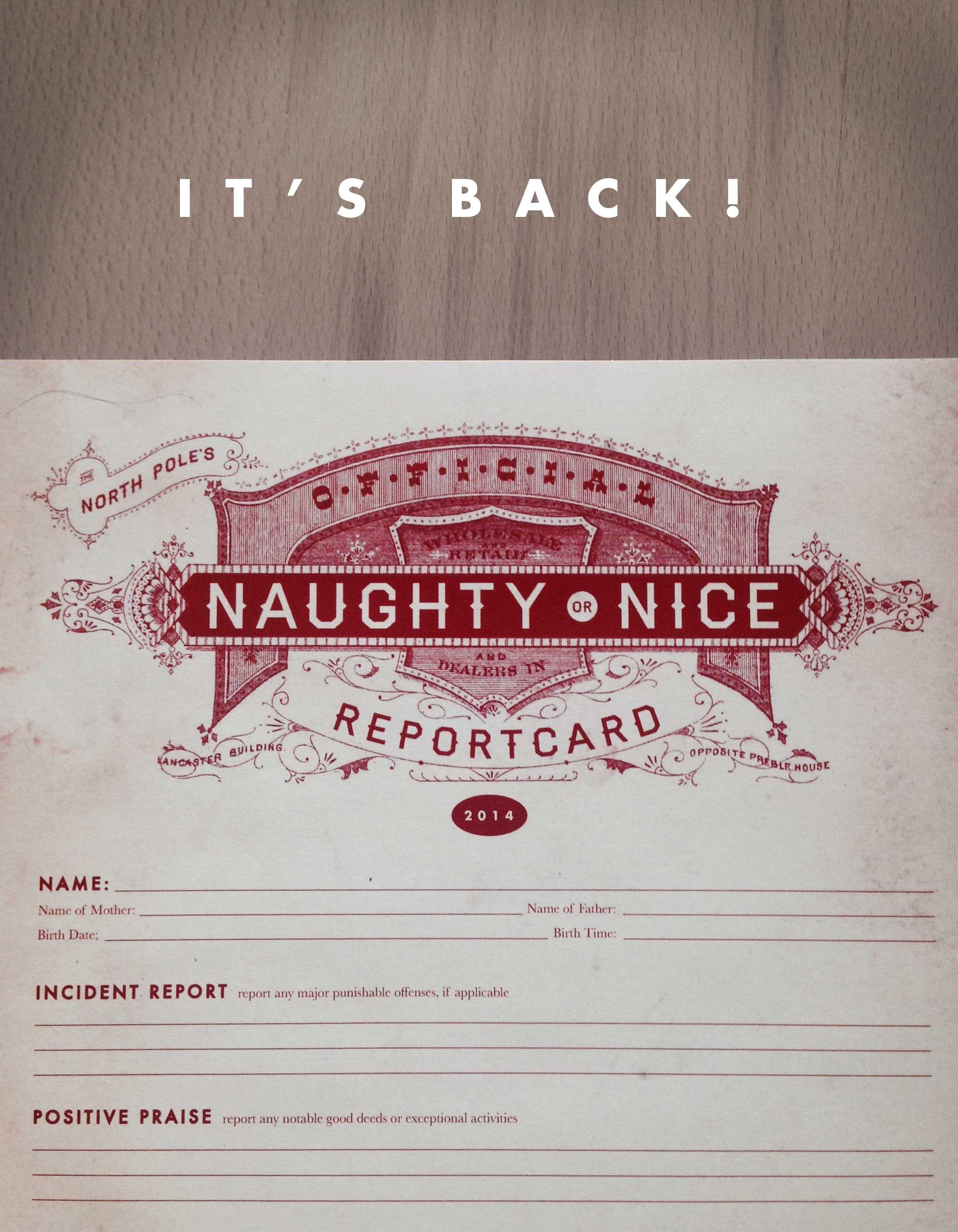 Naughty Or Nice Report Card Free Christmas Printables Free Christmas Tags Merry Christmas To All