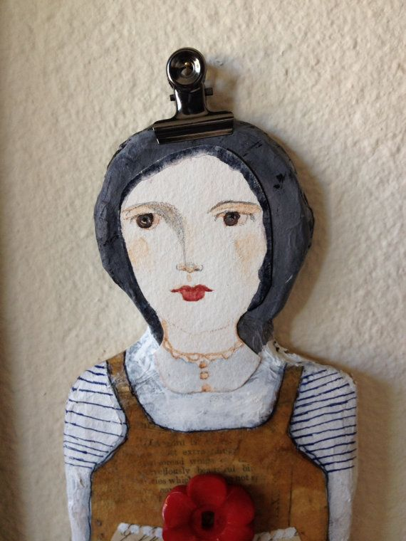 Willow OOAK Paper Mache Doll with Watercolor Face by PeregrineBlue