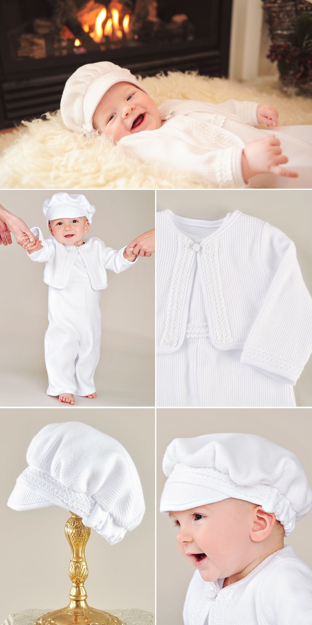 fe49cba8c The Lucas Christening Romper is a warm and cozy rib knit romper with beret  and jacket. Perfect for Fall or Winter celebrations.