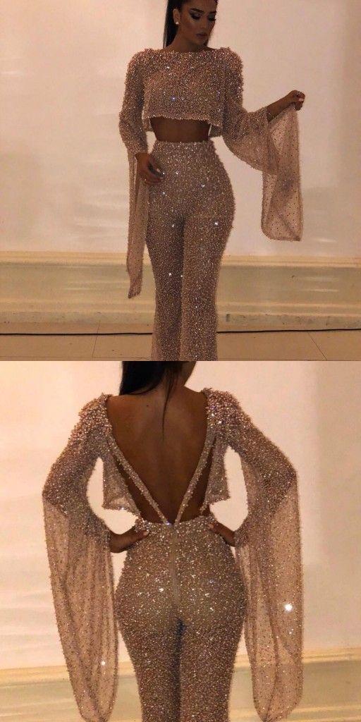 Luxus Abendkleid Gold 2 Teilig Pailletten Abendkleider Mit ...