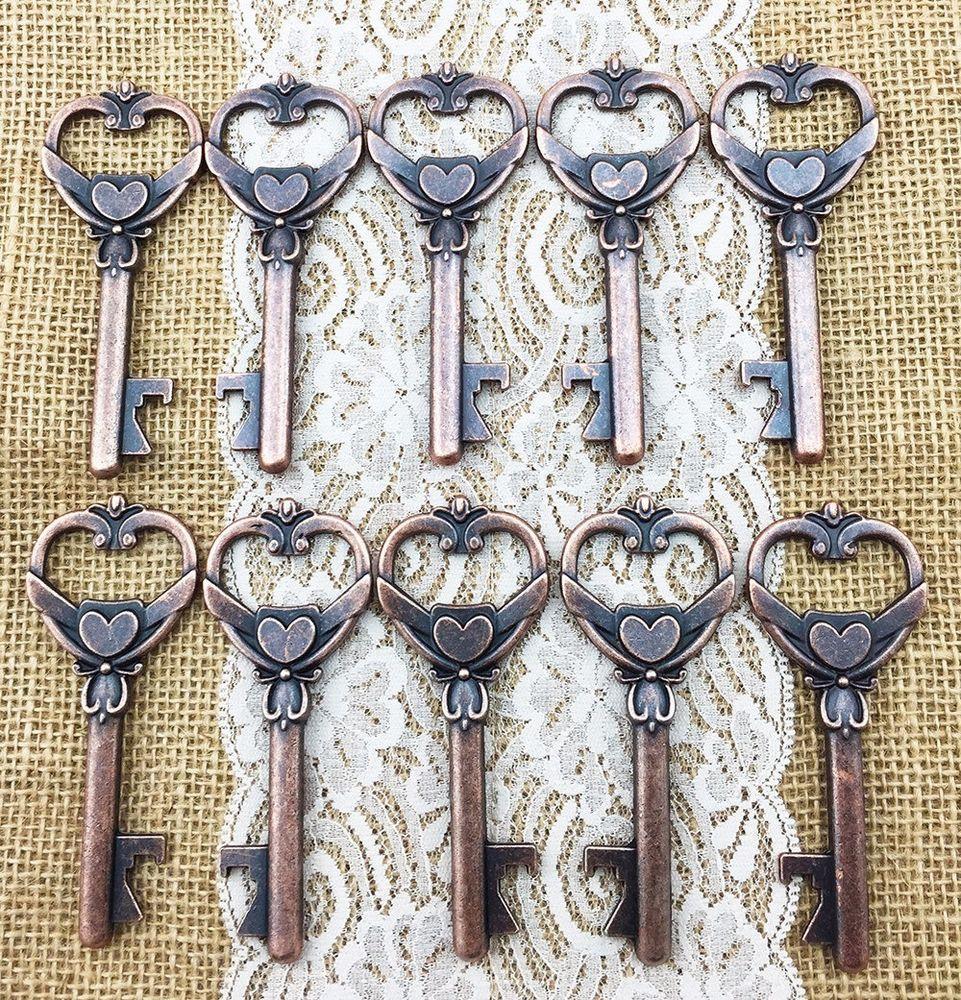 Details about 40 Large Heart Antique Skeleton Key Bottle Opener ...