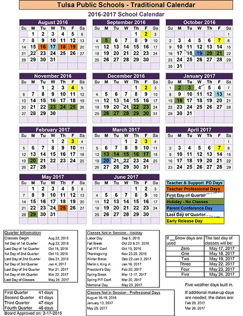 2016 2017 Calendar The Official Website Of Tulsa Public Schools