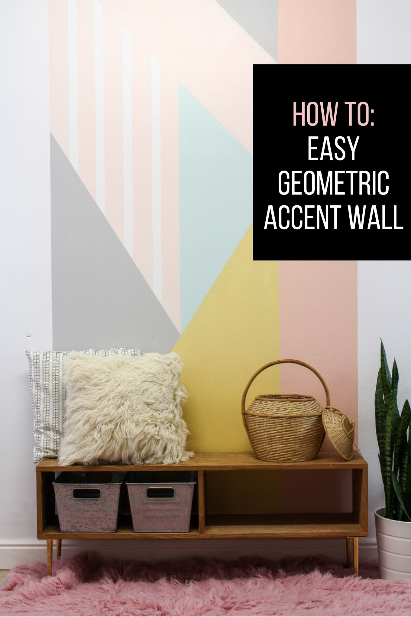 easy DIY geometric accent wall. | Tutorials, Walls and Create