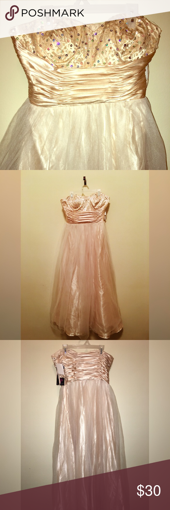 New champagne gold tulle formal gown size nwt gold tulle