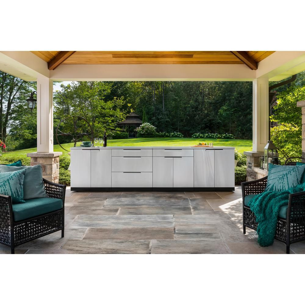 Newage Products Stainless Steel 4 Piece 92 In W X 36 5 In H X 24 In D Outdoor Kitchen Cabinet Set Modular Outdoor Kitchens Outdoor Kitchen Cabinets Outdoor