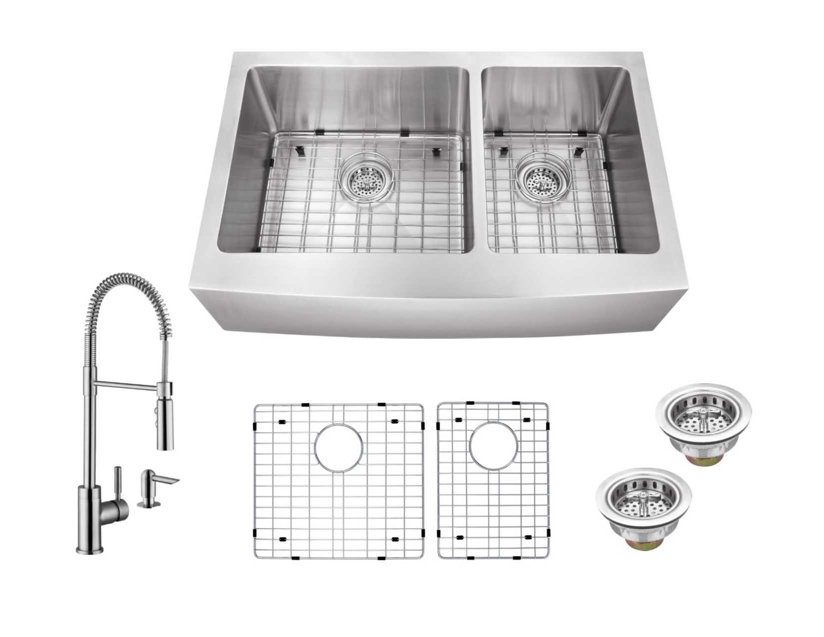Cahaba Casc0099 35 7 8 X 20 3 4 16 Gauge Stainless Steel Apron Front Double Bowl 60 40 Kitchen Sink With Pull Down Industrial Style Kitchen Faucet And Soap Dispenser Pull Out Kitchen Faucet Stainless Steel Faucets Kitchen Styling