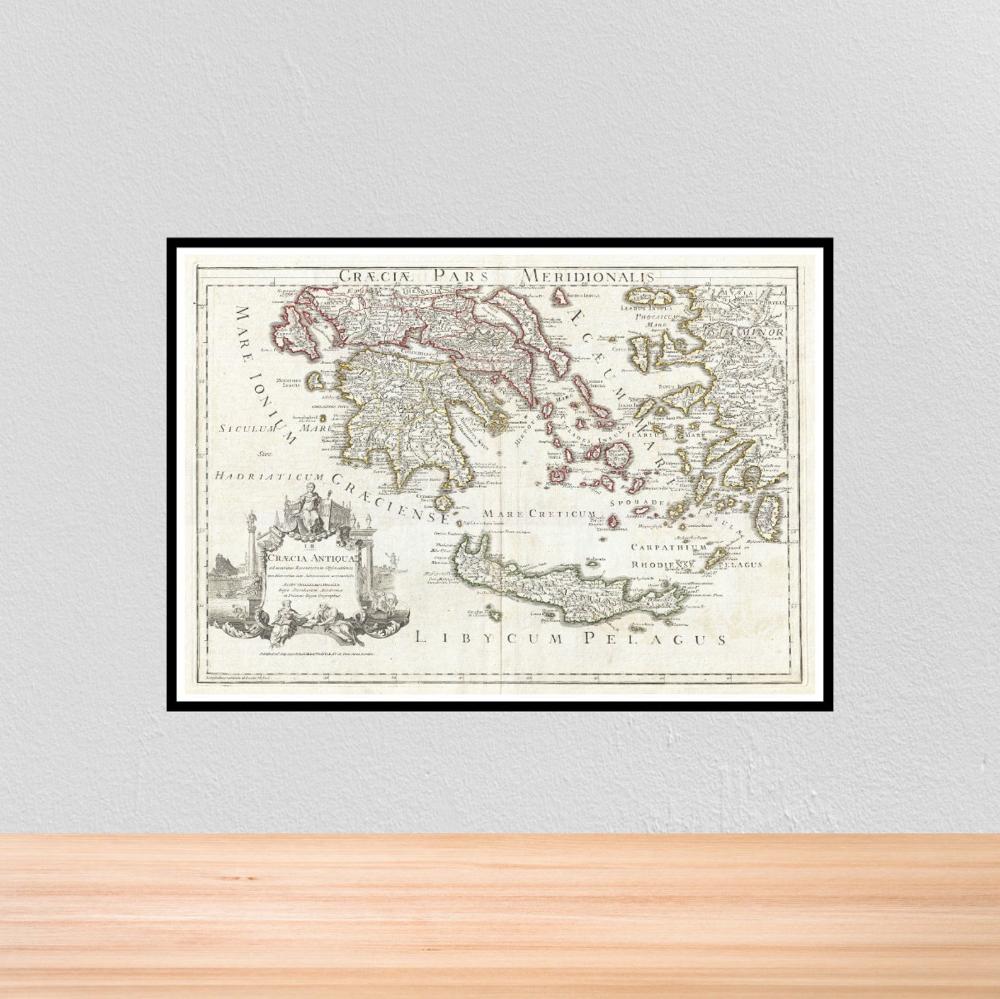 Vintage Historical Map of the Greek Islands, Vintage
