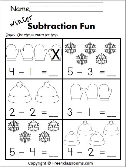 Free Winter Subtraction Worksheet Kindergarten Kindergarten Subtraction Worksheets Kindergarten Math Worksheets Kindergarten Subtraction Activities