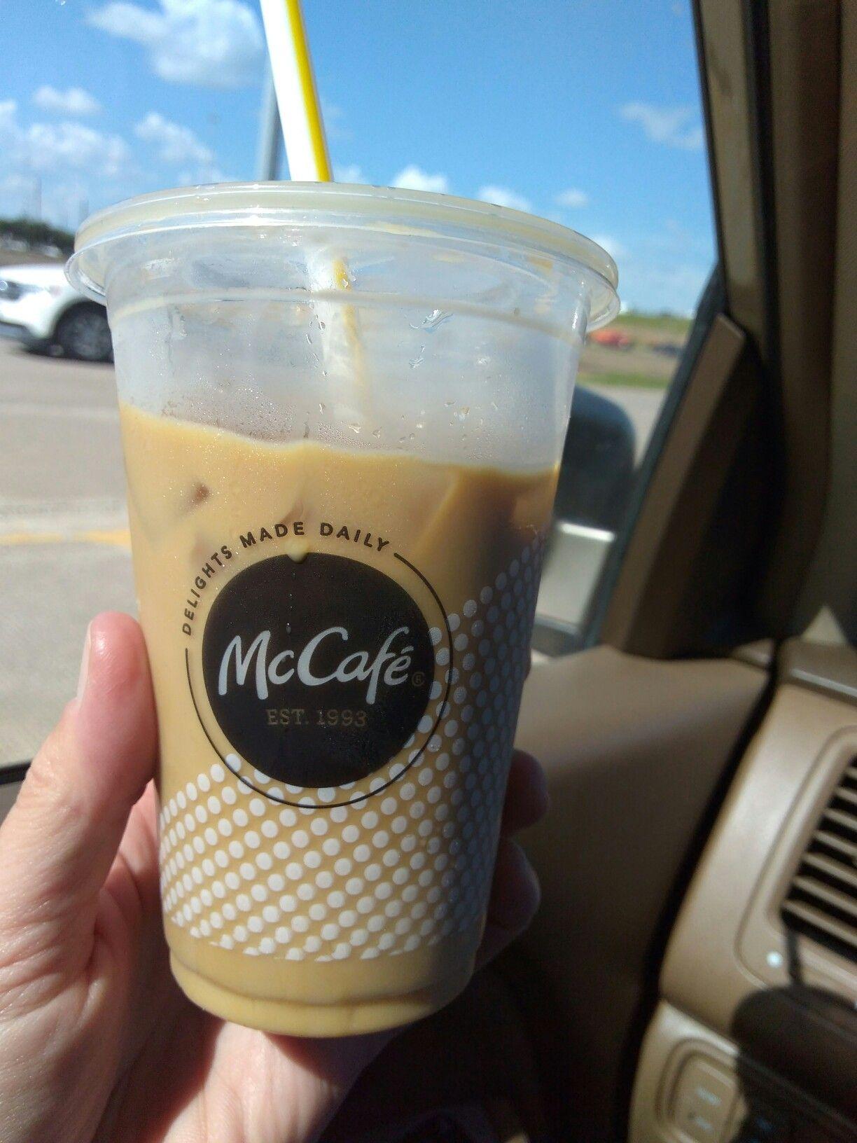 McDonald's iced coffee, no liquid sugar, cream, one