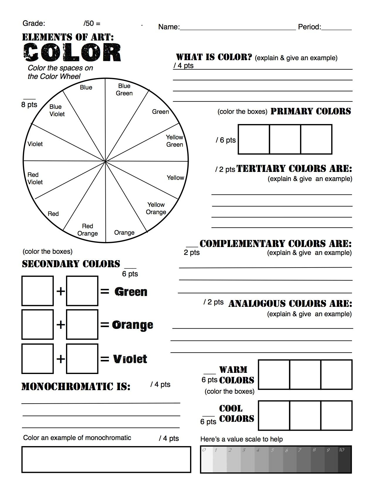 Color theory worksheet for kids - Color Theory Homework I Gave To My Studio In Art Kids When I Was Student Teaching