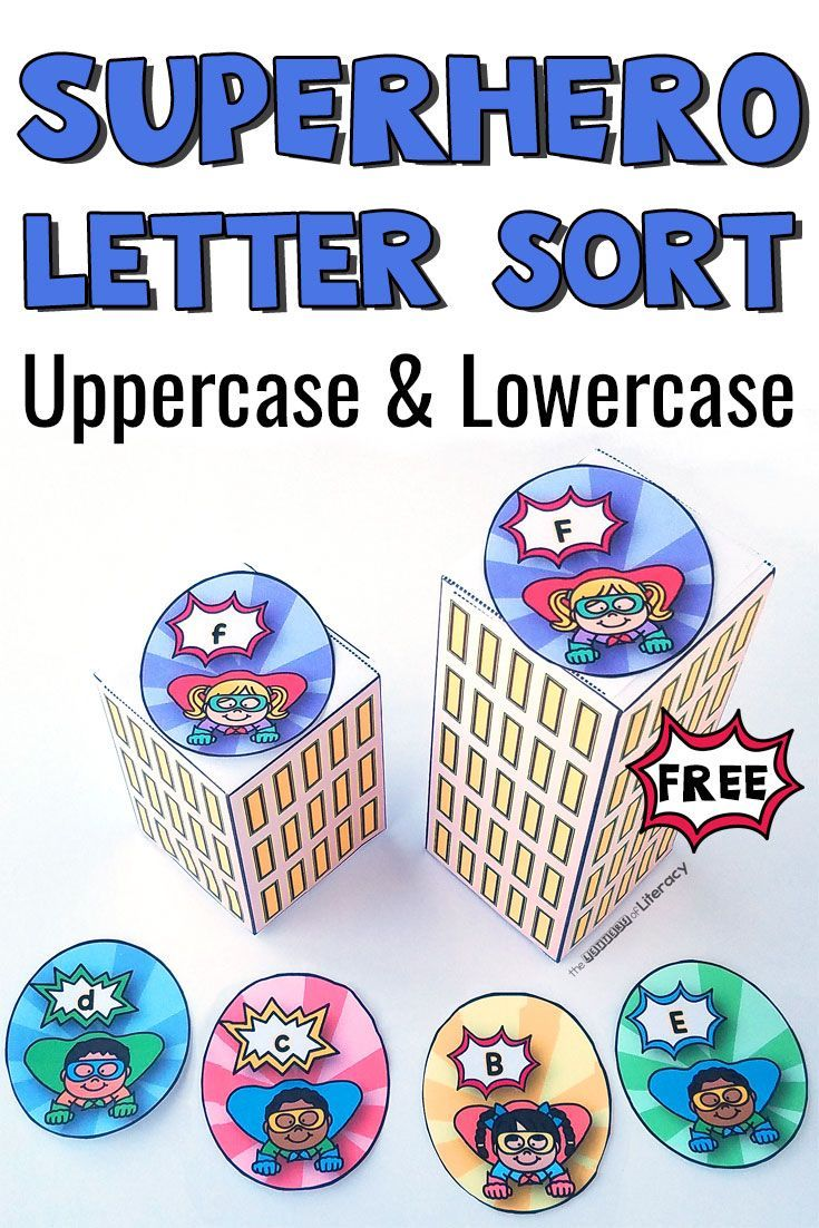Superhero Letter Sort for Alphabet Literacy Centers is part of Letter sort, Literacy centers kindergarten, Superhero letters, Kindergarten literacy, Superhero kindergarten, Superhero preschool - Print this free printable superhero letter sort for your PreK or Kindergarten Literacy Centers! Sort upper and lowercase letters for handson learning!