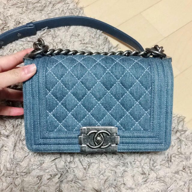 2e43499b3dc0 Auth CHANEL Shoulder Bag Blue Matelasse Boy Denim Medium Flap Logo B1892   fashion  clothing  shoes  accessories  womensbagshandbags ...