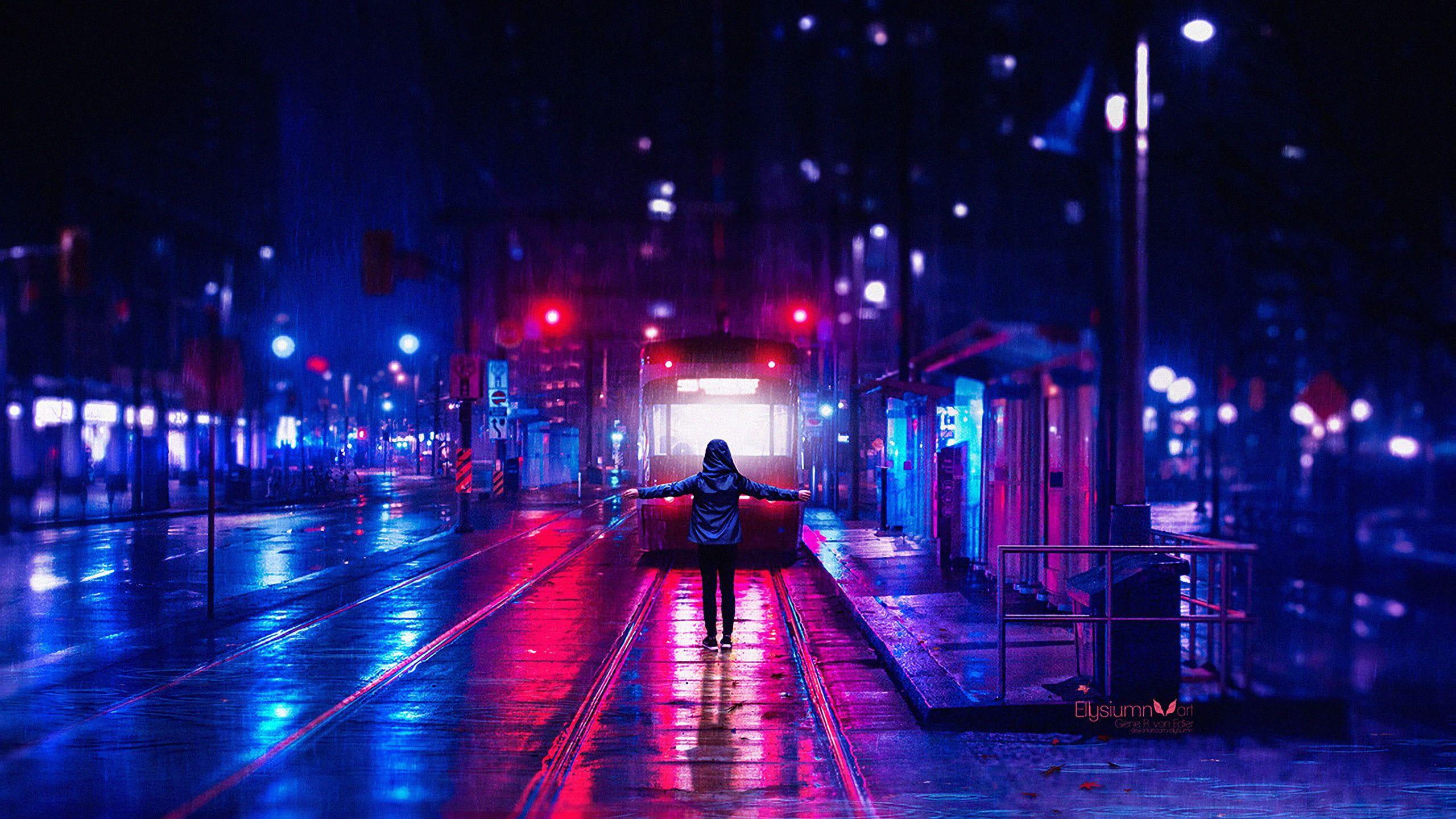 digital art city lights neon lights street light train station concept art