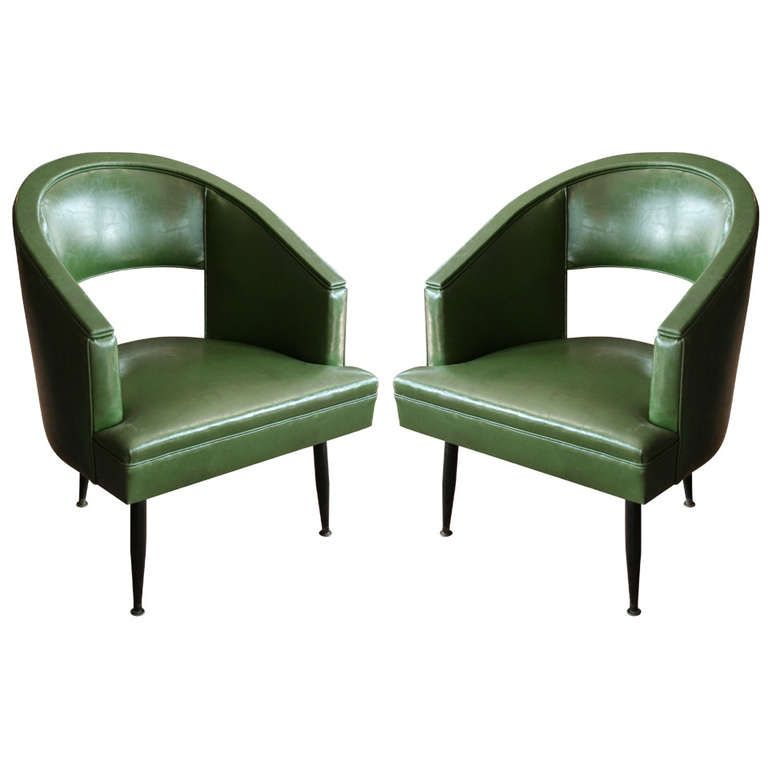 Pair Of Barrel Tub Chairs With Cutout Backs And Metal Legs