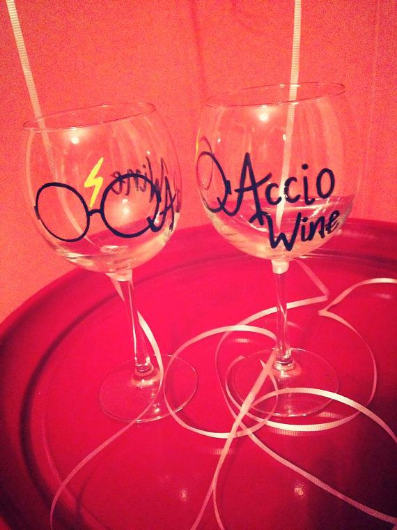 2 Harry Potter Accio Wine Glass By Luckeycharms On Etsy 40 00